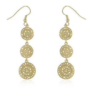 Golden Filigree Circle Earrings - Jewelry Xoxo