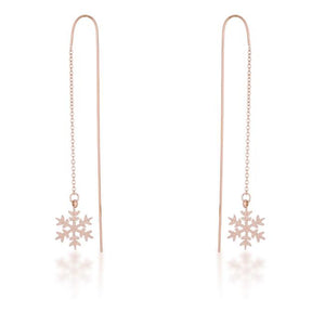 Noelle Rose Gold Stainless Steel Snowflake Threaded Drop Earrings - Jewelry Xoxo
