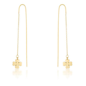 Patricia Gold Stainless Steel Clover Threaded Drop Earrings - Jewelry Xoxo