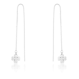 Patricia Rhodium Stainless Steel Clover Threaded Drop Earrings - Jewelry Xoxo