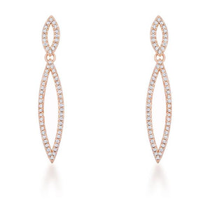 Sara 1.2ct CZ Rose Gold Delicate Double Teardrop Drop Earrings - Jewelry Xoxo