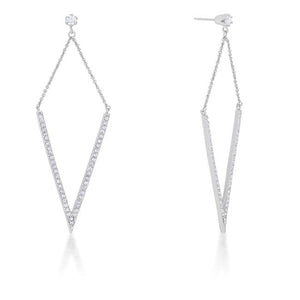 Michelle 1.2ct CZ Rhodium Delicate Pointed Drop Earrings - Jewelry Xoxo