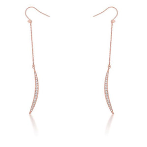 Luna 0.5ct CZ Rose Gold Delicate Moon Drop Earrings - Jewelry Xoxo