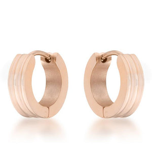 Marlene Rose Gold Stainless Steel Small Hoop Earrings - Jewelry Xoxo
