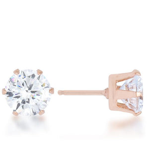 Reign 3.4ct CZ Rose Gold Stainless Steel Stud Earrings - Jewelry Xoxo