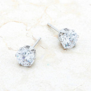 Reign 3.4ct CZ Rhodium Stainless Steel Stud Earrings - Jewelry Xoxo