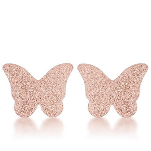 Jess Glittery Butterfly Rose Gold Stud Earrings - Jewelry Xoxo