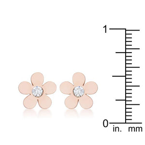 Daisy 0.3ct CZ Rose Gold Stainless Steel Flower Stud Earrings - Jewelry Xoxo