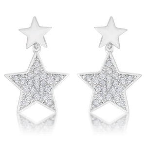 Bianca 0.5ct CZ Rhodium Star Drop Earrings - Jewelry Xoxo