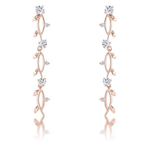 1.1Ct Vine Design Rose Gold Plated Earrings - Jewelry Xoxo