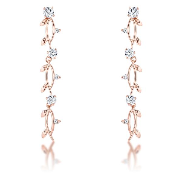 1.1Ct Vine Design Rose Gold Plated Earrings
