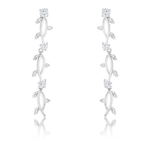 1.1Ct Vine Design Rhodium Earrings - Jewelry Xoxo