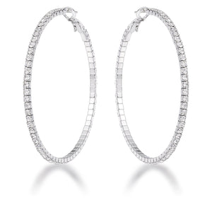 3.85Ct Silvertone Cup Chain Hoop Earrings - Jewelry Xoxo
