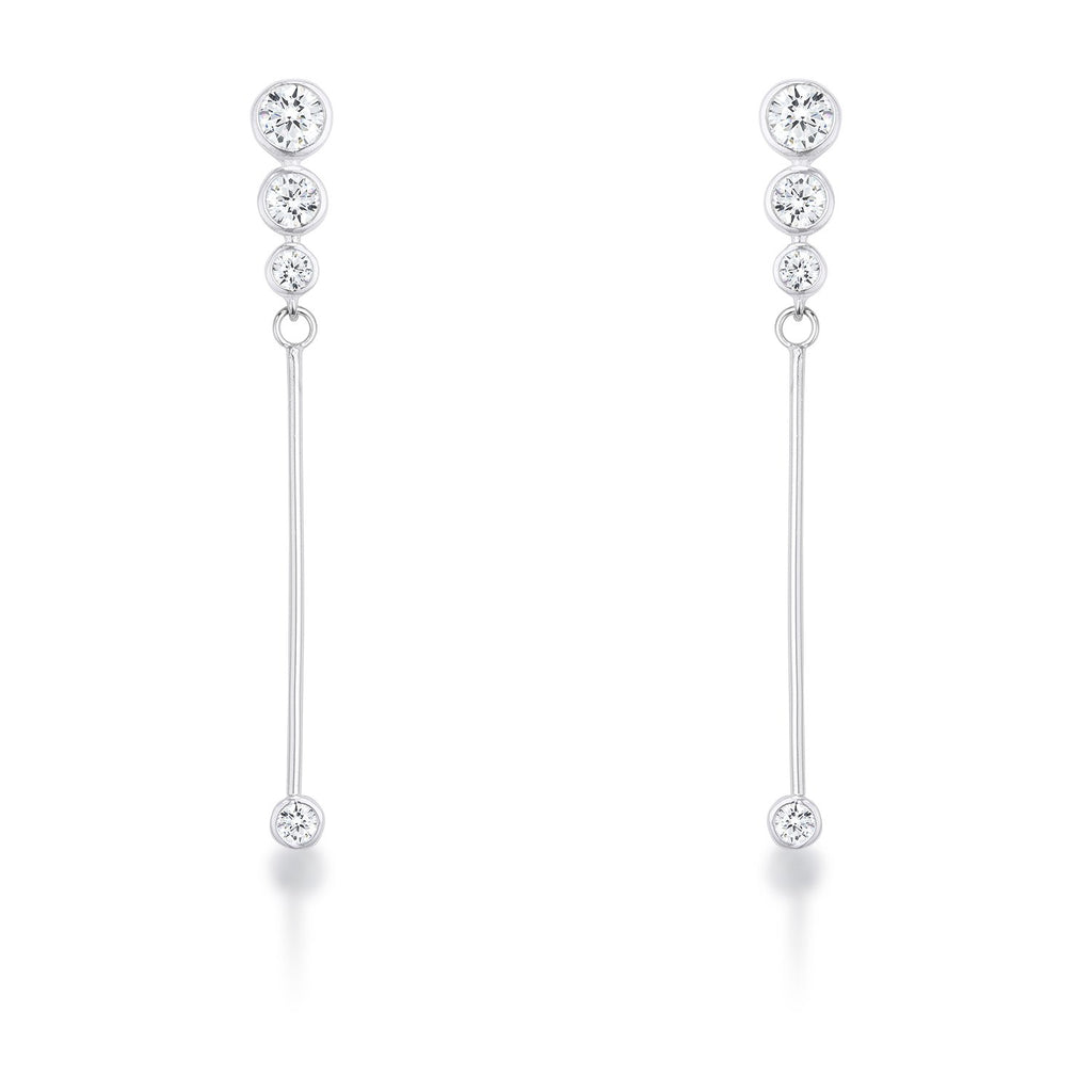 1.2Ct Graduated Rhodium Plated Drop Cubic Zirconia Earrings. - Jewelry Xoxo