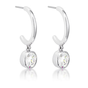 7mm Cz Rhodium Plated Drop Hooplet Earrings - Jewelry Xoxo