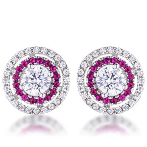 Fuchsia CZ Double Halo Studs - Jewelry Xoxo