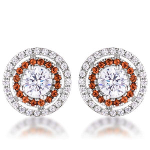 Orange CZ Double Halo Studs - Jewelry Xoxo