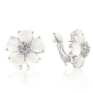 White Flower Nouveau Clip Earrings - Jewelry Xoxo