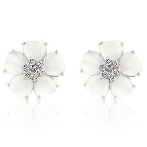 White Flower Nouveau Earrings - Jewelry Xoxo