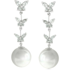 Butterfly Pearl Dangle - Jewelry Xoxo
