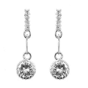 Simple Cubic Zirconia Drop Earrings - Jewelry Xoxo