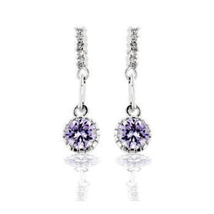 Lavender Cubic Zirconia Dangle Earrings - Jewelry Xoxo