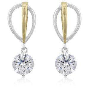 Two-tone Finish Cubic Zirconia Drop Earrings - Jewelry Xoxo