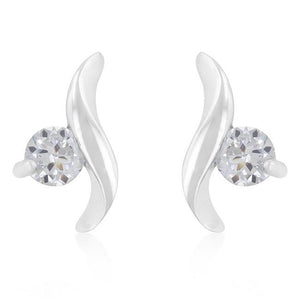 Twisting Solitaire Cubic Zirconia Earrings - Jewelry Xoxo