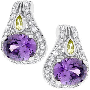 Majestic Amethyst Cubic Zirconia Earrings - Jewelry Xoxo