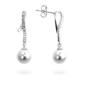 Pearl Cubic Zirconia Dangle Earrings - Jewelry Xoxo
