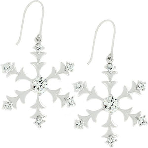 Silver Snowflake Dangle Earrings - Jewelry Xoxo