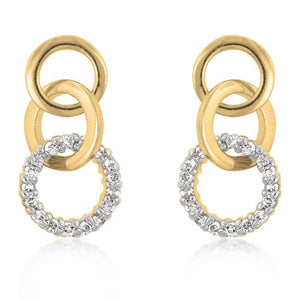 Goldtone Finish Triplet Hooplet Earrings - Jewelry Xoxo
