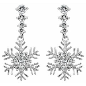 Snowflake Drop Earrings - Jewelry Xoxo