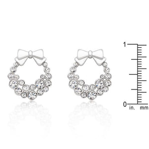 Holiday Wreath Clear Crystal Earrings - Jewelry Xoxo