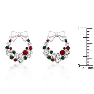 Holiday Wreath Colored Crystal Earrings - Jewelry Xoxo