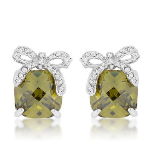 Olivine Drop Earrings with Bow - Jewelry Xoxo