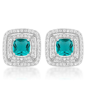 Aqua Halo Stud Earrings - Jewelry Xoxo