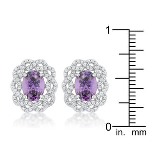 Amethyst Oval Stud Earrings - Jewelry Xoxo