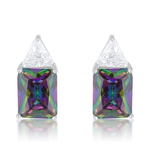 Classic Mystic Cubic Zirconia Rhodium Stud Earrings - Jewelry Xoxo