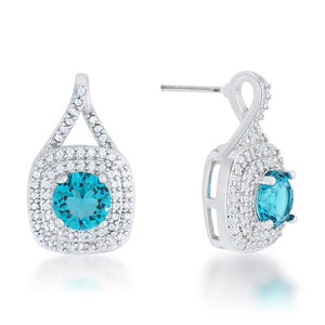 Christal 2.3ct Aqua CZ Rhodium Classic Drop Earrings - Jewelry Xoxo