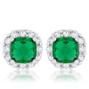 Liz 2ct Emerald CZ Rhodium Classic Cushion Stud Earrings - Jewelry Xoxo