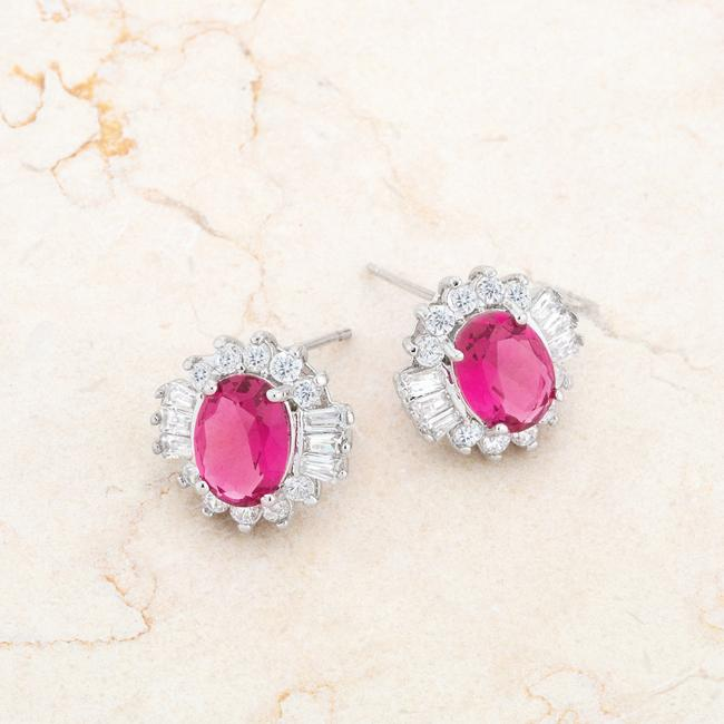 Chrisalee 3.3ct Ruby CZ Rhodium Classic Stud Earrings - Jewelry Xoxo