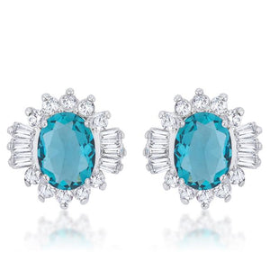 Chrisalee 3.3ct Aqua CZ Rhodium Classic Stud Earrings - Jewelry Xoxo