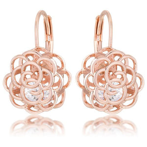 Maya 1.5ct CZ Rose Gold Rose Drop Earrings - Jewelry Xoxo