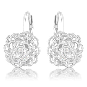 Maya 1.5ct CZ Rhodium Rose Drop Earrings - Jewelry Xoxo