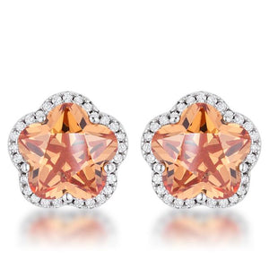 Floral Cut Champagne CZ Stud Earrings - Jewelry Xoxo