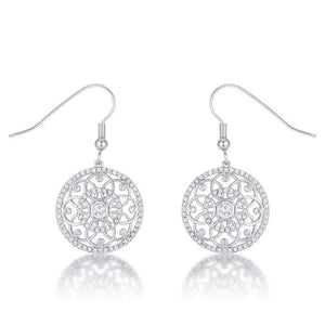.95 Ct Interlocking Circle Rhodium and CZ Earrings - Jewelry Xoxo