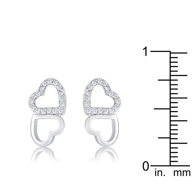 .17 Ct Melded Hearts Rhodium and CZ Stud Earrings - Jewelry Xoxo