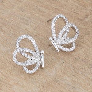 .45 Ct CZ Butterfly Stud Earrings - Jewelry Xoxo