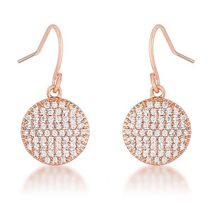 .6 Ct Elegant CZ Rose Gold Plated Disk Earrings